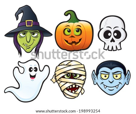 Set of Six Halloween Icon Characters