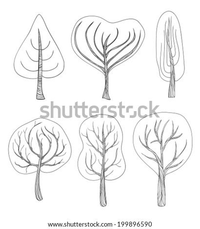Set of six hand - drawn trees on white background