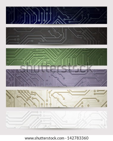 set of six Headers of the digital technologies - stock vector