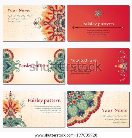 Set of six horizontal business cards. Beautiful floral pattern in oriental style. Simple delicate ornament. Place for your text. Complied with the standard sizes. - stock vector