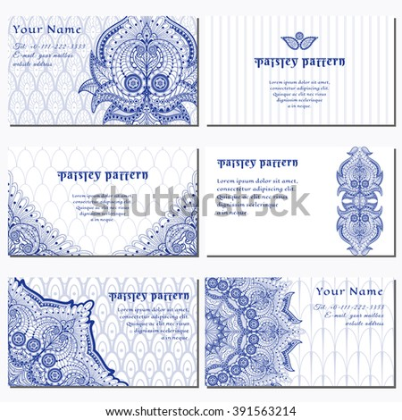 Set of six horizontal business cards. Floral oriental pattern on delicate ethnic backdrop. Place for your text. - stock vector