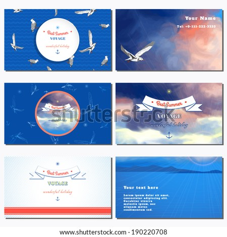 Set of six horizontal business cards. Marine background. Sky painted oil pastel. Gulls, pencil hand drawing. Decorative elements, tape, anchor, sun. Place for your text.  - stock vector