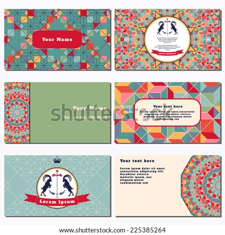 Set of six horizontal business cards. Multicolored figures and grid. Beautiful round emblem with two goats and ribbon. Place for your text. Complied with the standard sizes. - stock vector