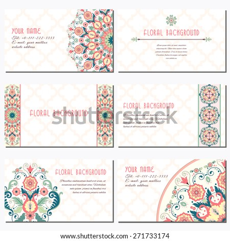 Set of six horizontal business cards. Vector floral pattern in modern style and moroccan tiles ornament. Place for your text. - stock vector