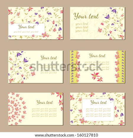 Set of six horizontal business cards. Vintage pattern in modern style with  plants, flowers - stock vector