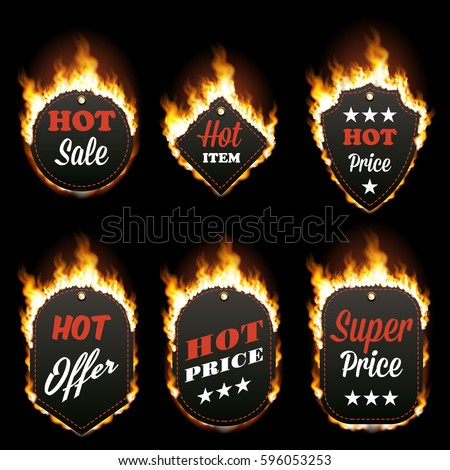 Set Of Six Hot Sale Frames Of Different Shapes Surrounded With Realistic  Flame Isolated On Black