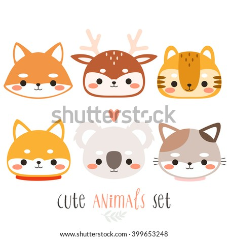 set of six illustration of cute cartoon animals. illustration of cute fox, deer, tiger, dog, koala and cat on white background. can be used for cards or birthday invitations - stock vector