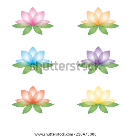 Set of six lotus flowers. Isolated objects on a white background. Can be used as icons - stock vector