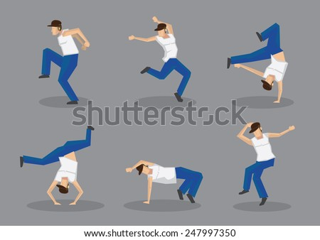 Set of six male hip hop dancers in cool street dance moves. Vector icons isolated on grey background. - stock vector