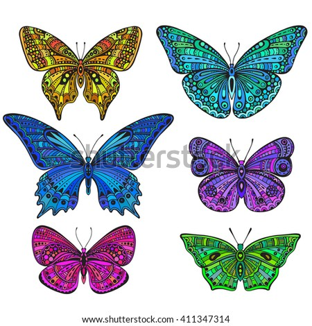 Set of six ornate doodle butterflies isolated on white background. Beautiful colorful vector illustration - stock vector