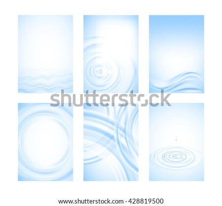 Set of six pure elegant vector backgrounds with water. Minimalistic nature design. Light blue color. A4. Good for flyer, presentation, book cover, postcard.   - stock vector