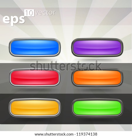 Set of six rectangle with rounded corners glossy buttons in chrome metal and black plastic edgings, eps10 vector