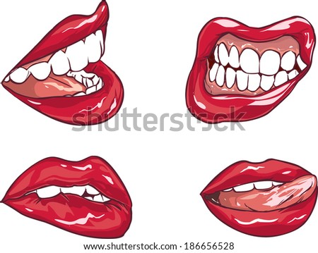 Set of six red sexy female lips - stock vector