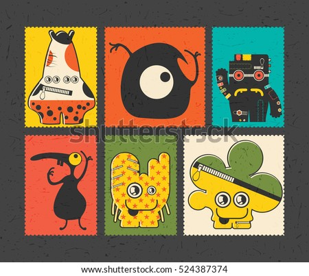 Set of six retro postage`s stamp with funny monsters on different color background, . Cartoon illustration. vector stickers