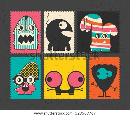 Set of six retro postage`s stamp with funny monsters on different color background. Cartoon illustration. vector stickers