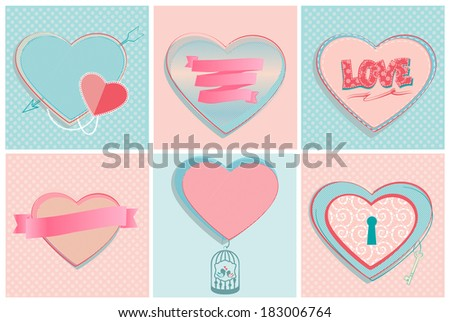 Set of six romantic heart shapes in pastel pink and blue with copyspace, ribbon banners, the word Love, a lock and a cupids arrow, vector designs for Valentine,wedding or anniversary greeting cards