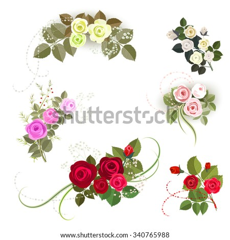 Set of six rose design elements isolated on white background. It can be used for greeting card and invitation. Red, yellow, beige and pink roses. - stock vector