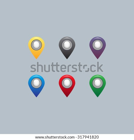 Set of six round, colorful map pointers - stock vector