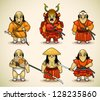Set of six samurai - stock vector