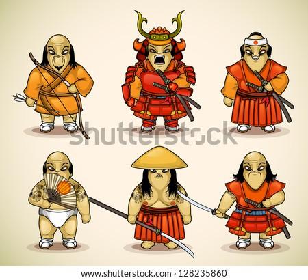 Set of six samurai - stock vector
