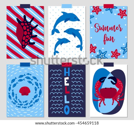Set of six summer greeting cards with shell, dolphin, starfish, school of fish, sea waves, crab - stock vector