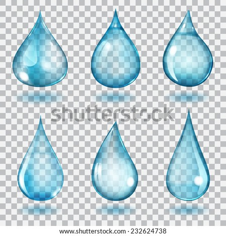 Set of six transparent drops of different forms in blue colors - stock vector