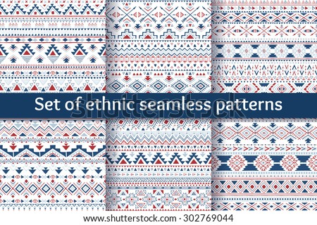 Set of six tribal aztec seamless patterns. Hand drawn geometric backgrounds. Stylish navajo design. Modern abstract aztec patterns. Vector illustration. - stock vector