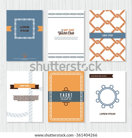 Set six vector banner templates marine stock vector 361404266 set of six vector banner templates in marine style elegant invitation card yacht club toneelgroepblik Image collections