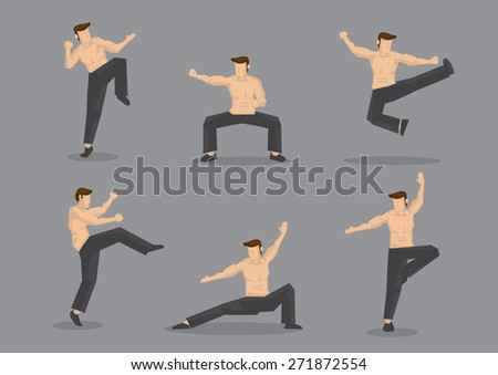 Set of six vector cartoon character of muscular topless man in various poses of Chinese style martial arts, also known as kungfu, isolated on plain grey background. - stock vector