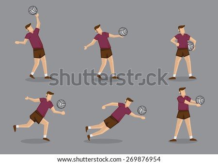 Set of six vector character of volley ball players playing volleyball isolated on grey background. - stock vector