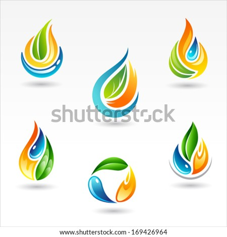 Set of six vector design of element representing fire water and life - stock vector
