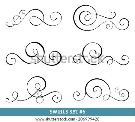 Set of six vector flourish swirls. Simple black contours on white. - stock vector
