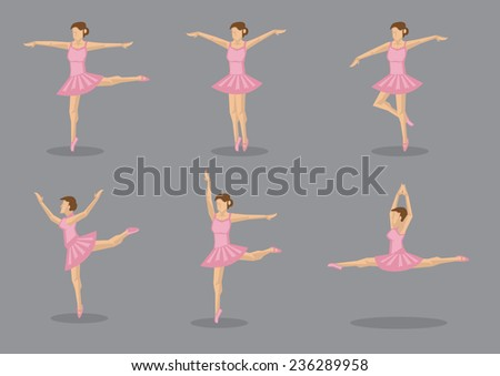 Set of six vector icons of ballerina dancer in pink tutu in various dance poses - stock vector