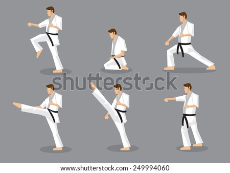 Set of six vector icons of full body cartoon man in side view performing martial arts moves isolated on grey background. Applicable to Karate and Taekwondo. - stock vector