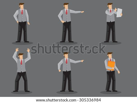 Set of six vector illustration of cartoon man wearing necktie and sleeveless vest without jacket in different poses isolated on grey background. - stock vector