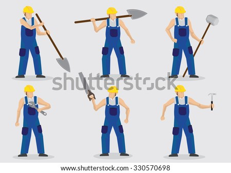Set of six vector illustration of manual worker wearing blue overall and yellow helmet and holding different tools isolated on plain background. - stock vector