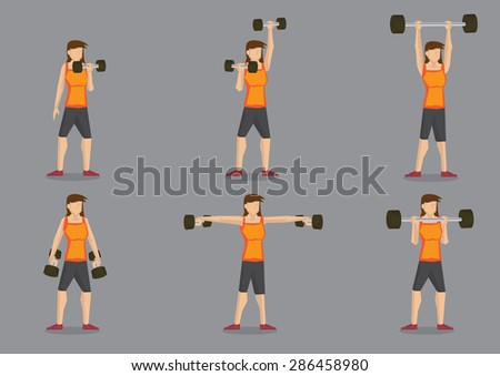Set of six vector illustration of woman doing weights training with dumbbells isolated on grey background.
