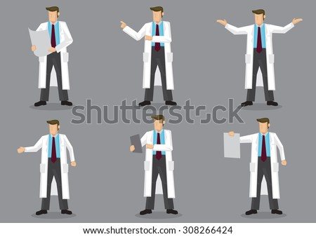 Set of six vector illustrations of cartoon man in long white coat or lab coat as doctor, scientist or laboratory researcher isolated on grey background. - stock vector