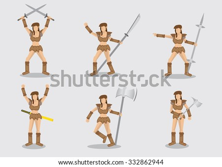 Set of six vector illustrations of primitive woman warrior holding weapons in different gestures isolated on plain background.