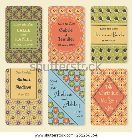 Set of six vector retro invitation templates in retro floral colors. Elegant vintage wedding day card. Celebration design. Graphic patterns. Greeting banner.  - stock vector