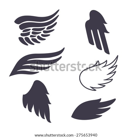 Set of Six Vector Silhouettes Wings. Elements for Logos, Tattoos, Labels and Badges Designs.  - stock vector