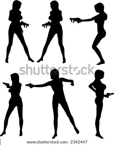 Set of Six Vector Silhouettes Women with Guns