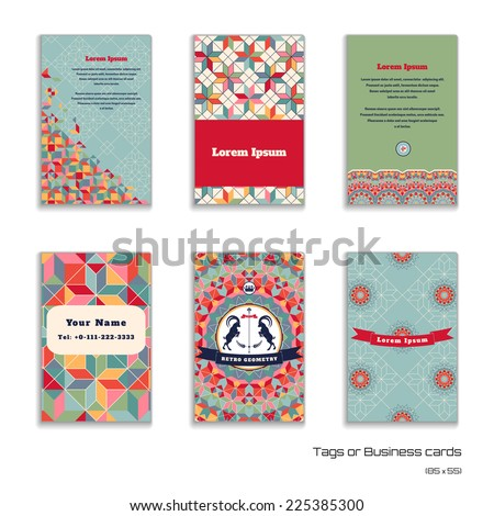 Set of six vertical business cards. Multicolored figures and grid. Beautiful round emblem with two goats and ribbon. Place for your text. Complied with the standard sizes. - stock vector