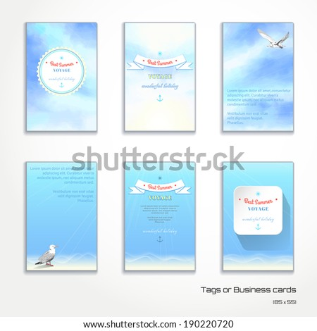 Set of six vertical business cards or tags. Sky painted oil pastel. Gulls, pencil hand drawing. Decorative elements, tape, anchor, sun. Place for your text.  - stock vector