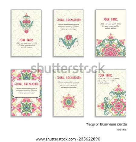 Set of six vertical business cards. Oriental floral pattern. Delicate ornament. Delicate green and pink.Place for your text.  - stock vector