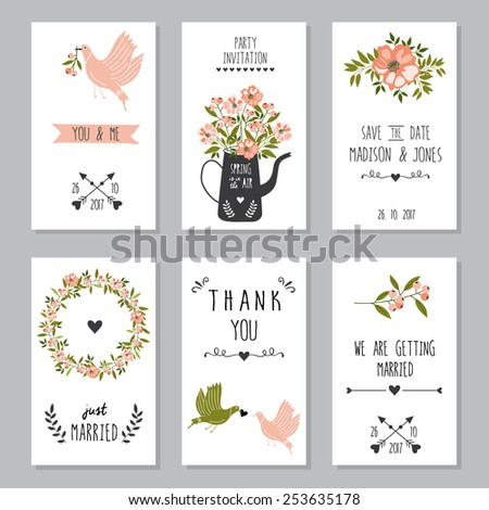 Set of six wedding card or invitations. Wedding, marriage, birthday, Valentine's day. Stylish simple design. Vector illustration. - stock vector