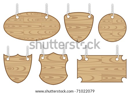 set of six wooden sign - stock vector