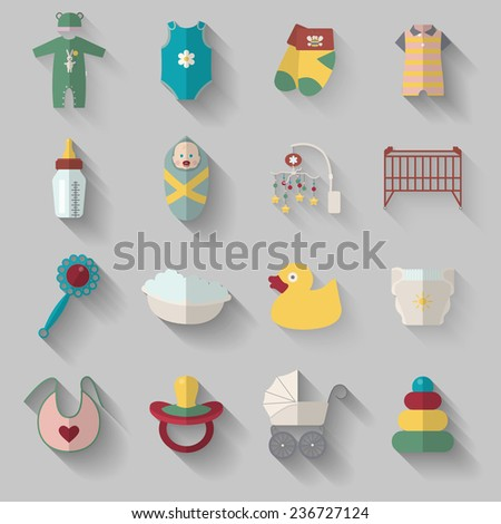 Set of sixteen baby icons in flat design. Vector illustration.  - stock vector