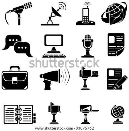 Set of sixteen black icons on white background, illustration - stock vector