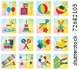Set of sixteen children toy icons - stock vector